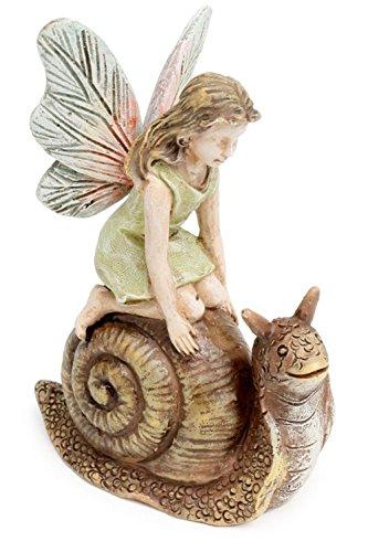 Racing Snail Fairy Girl 3.25 Inch Miniature Fairy Garden Resin Figurine