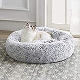Western Home 猫ベッド 犬 ベッド クッション ラウンド型 ふわふわ 洗える ペット用 丸い クッション おしゃれ 小型犬用 ダックグレー 50x20cm ライトグレー