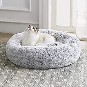 Western Home Faux Fur Dog Bed & Cat Bed, Original Calming Pup Dog Bed for Small Medium Pet, Anti Anxiety Donut Cuddler Round Warm Bed for Dogs with Fluffy Comfy Plush Kennel Cushion(20″,24″,27″)