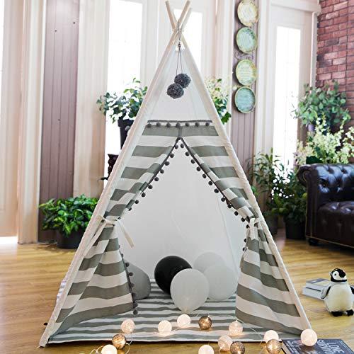 TreeBud de Jeu de tipi pour Enfants avec Tapis tentes Indiennes intérieures extérieures avec Rideau rayé Playhouse Pompon Dentelle Coton Toile Tipi avec Sac de Transport (Rayure Grise)