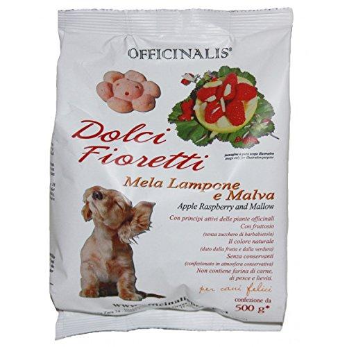 Dolci Fioretti Biscotti Naturali Per Cani Mela Lampone Malva Sacchetto 500 Gram