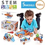NOYTOY STEM Learning Toys | 5IN1 Educational Engineering Building Set | 132 PCS STEM Kits for Kids Age 6-8 | DIY STEM Construction Kit | Creative STEM Gifts for 6 7 8 9 10 11 12 Year Old Boys & Girls