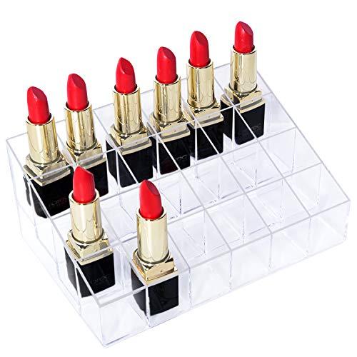 Mobengo - Support pour rouges à lèvres / organisateur de maquillage en acrylique transparent, 24 slot
