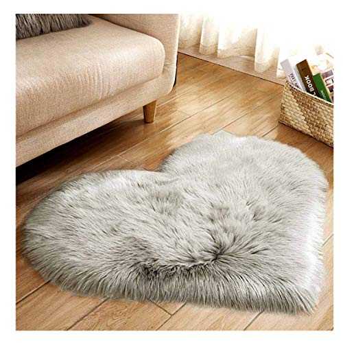Soft Faux Fur Area Rug Chair Cover Seat Pad Fuzzy Area Rug for Bedroom Floor Sofa Living Room 30X40cm/11.81''x15.74'' (Gray)
