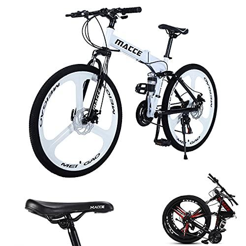 Mountain bike per adulti con ruote 26 pollici a 3 razze pieghevoli,mountain bike per uomo e donna,27 velocità a doppio freno a disco, telaio in acciaio leggero e resistente,diversi colori (bianco)
