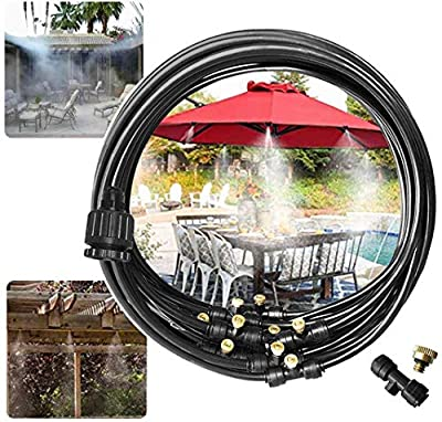 """Outdoor Misting Misters Cooling System 33.3FT (10M) Misting Line + 12 Brass Mist Nozzles + a PVC Connector(3/4"""")+a PVC Socket(1/2"""") for Patio Fan Garden Greenhouse Misting,Trampoline for(33ft, brass)"""