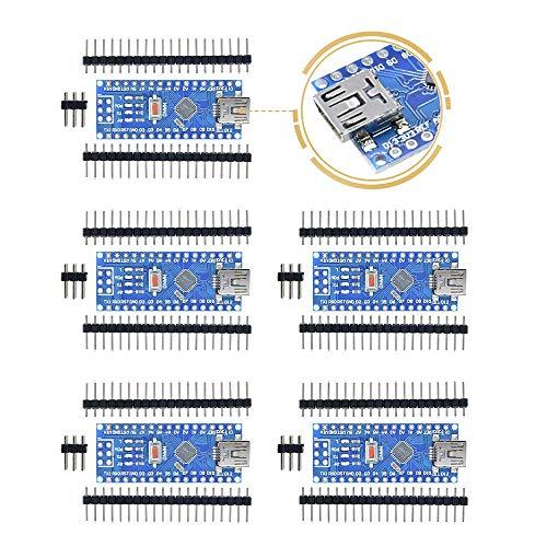 Aideepen 5PCS Nano V3.0 CH340/ATmega328P Scheda Mini USB 5V 16M Micro Controller Driver Development Board No Welding Compatibile con Arduino Nano V3.0