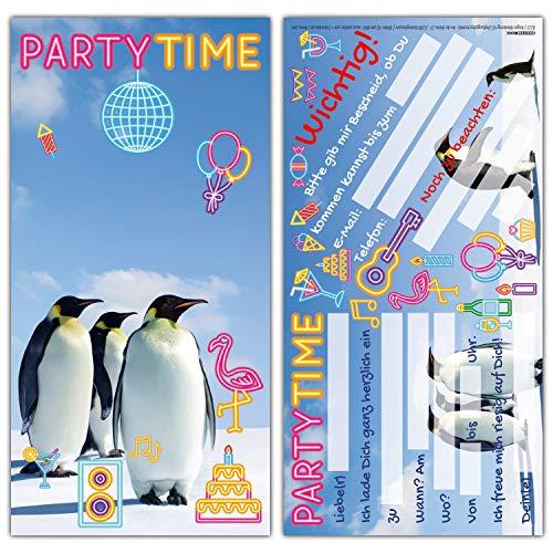 12 PINGUINE PARTY Einladungskarten im Set - lustige Einladungen zum Kinder-Geburtstag oder Party für Jungen Mädchen & Erwachsene von BREITENWERK