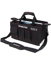 WORKPRO 工具バッグ375mm ツールバッグ 三つ割れ工具袋 透明収納ケース付き ワイドオープン ショルダーバッグ 折り畳みツールキャリーバッグ 鋸袋付き 工具収納 仕分け管理 運搬用