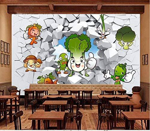 Papel Tapiz Fotográfico 3D Personalizado Vegetales Tridimensionales De Dibujos Animados Vegetales Frescos De Temporada 3D Pared Rota Pared De Fondo De Restaurante-150Cmx105Cm