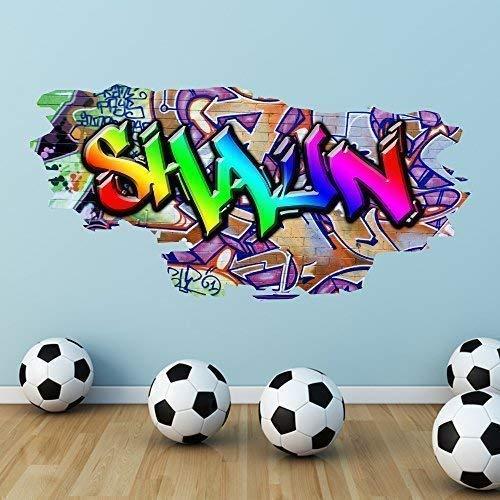 Wall Smart Designs Multi Farbige Personalisierter Ziegel Wandaufkleber Schlafzimmer Wandbild Druck - Mittelgroß: 100cm (B) x 49cm (H)