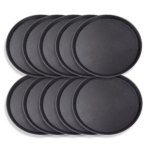 Schramm® 10 Piezas Bandeja de Gastro 35cmx2cm Redonda Negra Paquete de 10 con Revestimiento Antideslizante Borde Alto Bandeja de Camarero