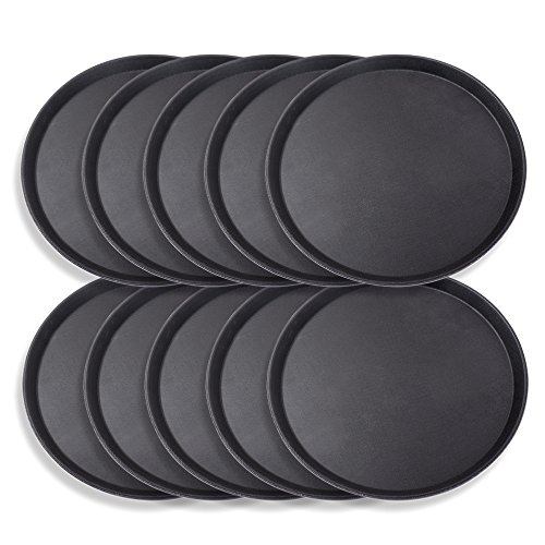 Schramm® 10 Stück Gastro Tablett 35cmx2cm rund schwarz 10er Pack mit Anti Rutsch Beschichtung hoher Rand Kellnertablett Kellner Gastro Tablett Tabletts