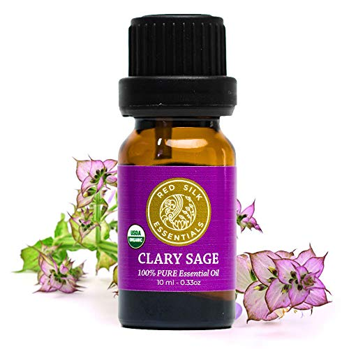 Organic Clary Sage Essential Oil, 100% Pure Non-GMO USDA Certified Organic Salvia Sclarea - 10ml Undiluted | Hormone Support