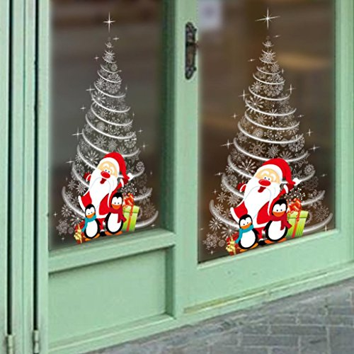 Ineternet Noël Boule Amovible en Vinyle Maison fenêtre Stickers PVC Autocollant Decor 60 * 90cm (Multicolore(Sapin de Noël Blanc))