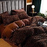 Winter bettwäsche 135x200 4teilig,Milchteil Samt vierteiliges Dickes Bettlaken doppelseitig Plus Fleece Bettbezug Flanell Bettdecke Kissenbezug B_1,5 m Tagesdecke (4 Stück)