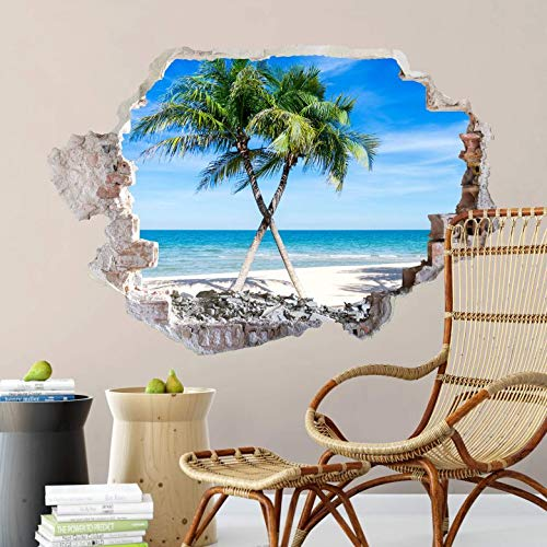 removable wallpaper zen garden wall stickers 3D ocean wall decals self adhesive beach mural 40x27 cm