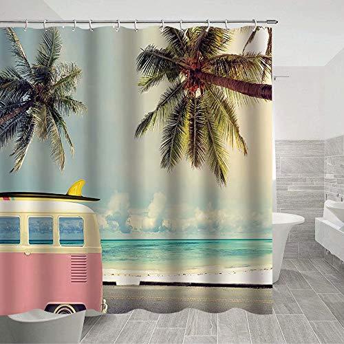 Bus Duschvorhang Hawaii Reise Individuellkeit Mehrfarbig Kreative Textur Waschbar Badezimmer Vorhang-Sets mit Haken Dekoration 178 x 178 cm
