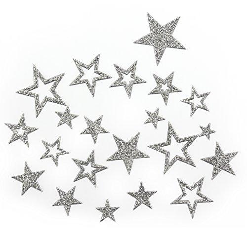 Oblique-Unique Sternen Sticker in Gold oder Silber - Glitzernde Funkelnde Sterne (Silber)