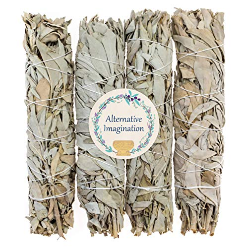 4 Premium California White Sage, Each Stick Approximately 8 Inches Long and 1.25 Inches Wide for Smudging Rituals, Energy Clearing, Protection, Incense, Meditation, Made in USA