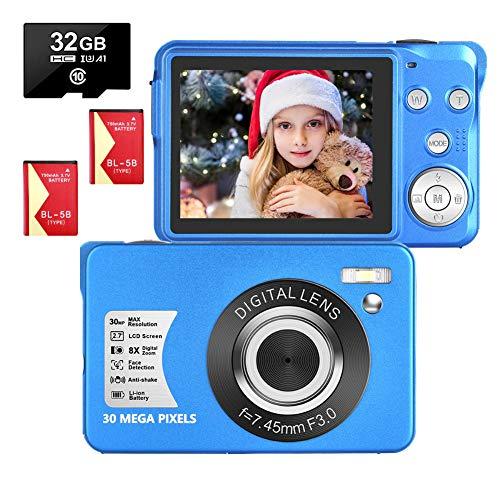 LongOu Digitalkamera 2,7 Zoll 1080P 30 Megapixel HD Fotoapparat Digitalkamera Wiederaufladbare Fotokamera mit 8-Fach Zoom-Kompaktkamera Mit 32 GB SD-Karte und 2 Batterien (Blau)