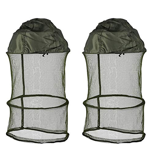 Mosquito Head Net Hat - Protection Face Neck Mask from Insect Bug Bee Gnats Anti-Mosquito Bucket Sun Hat for Fishing Camping Beekeeping Men Women (2 Pcs) Green