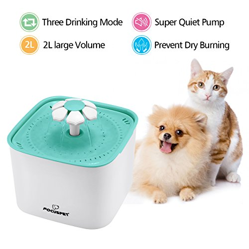 FOCUSPET Cat Water Fountain, 2L Automatic Pet Water Dispenser Ultra Quiet&Hygienic with Replacement Filters for Cats Dogs Multiple Pets