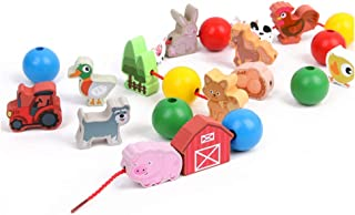Young for U Wooden stringing Beads Toys, Cartoon Farm Animals Building Block String Beads Toys, Learning & Education Early Development Toys