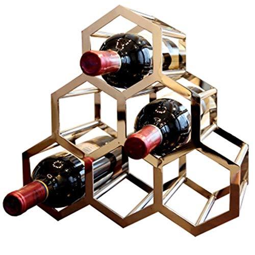 SMX 6 Flessen Metalen Wijnrek, Aanrechtblad Vrijstaande Wijnbewaarhouder, Ruimtebesparer Beschermer voor Rode & Witte Wijnen - Goud