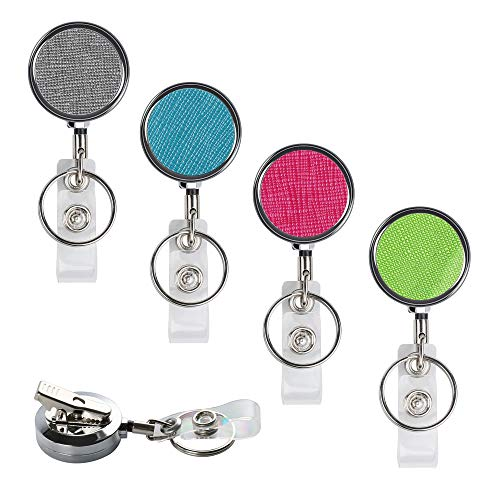 """Teskyer Professional Retractable ID Card Badge Holder Reel with 360 Degrees Swivel Alligator Clip and Key Ring for Nurses Teachers Students, Retractable 30"""", 4 Pack"""