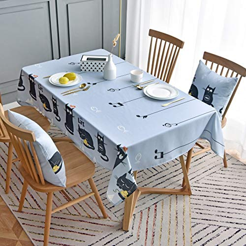 WSJIABIN Home Decoration Tablecloth Waterproof Nordic Style Cartoon Blue Cat Disposable Personality Coffee Table Cover Cloth Desk Cloth Rectangular Table Cloth