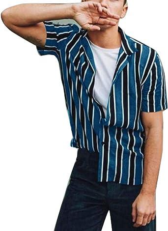 Camisa de Rayas Verticales para Hombre Camisa de Manga Larga ...
