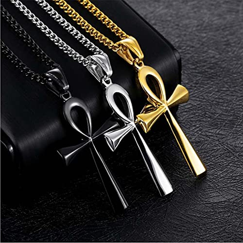 MIKUAB collarColgante de Acero Inoxidable con símbolo de Vida, Cruz egipcia, Cruz, Collares para Regalo de joyería,