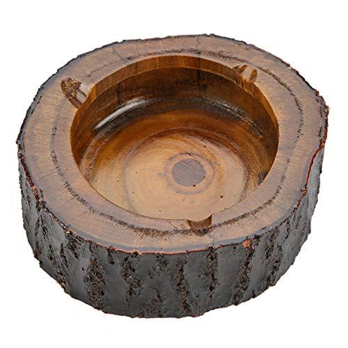 Cenicero redondo de madera natural para cigarrillos, cenicero para fumar tabaco, uso en la oficina en casa, nuevo, cenicero de madera para cigarrillos, cenicero de mesa de madera para hombres(13-14cm)