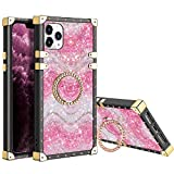XNMOA for iPhone 11 Pro Max Glitter Case for Women Girls Kickstand Ring Holder Rainbow Sparkle Bling Square Case Slim Shockproof Tough Anti-Slip Back Protective for iPhone 11 Pro Max 6.5inch Pink