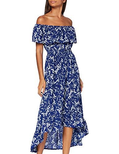 Mela Damen Bardot High Low Maxi Dress Lässiges Kleid, blau, 34