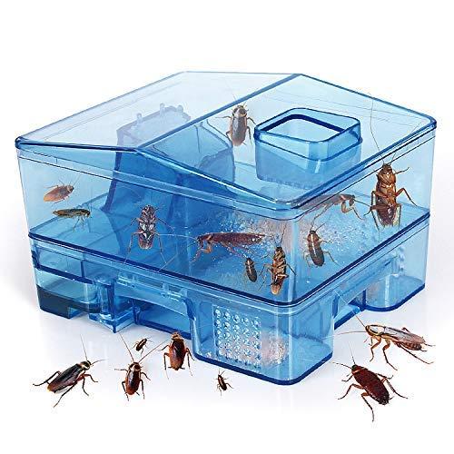 JEEZAO Trampa Cucarachas Asesina Caja Reutilizable,Cucarachas Capturar,Ambientalmente Segura,sin Contaminación es Seguro para niños y Mascotas (Azul)