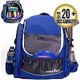 Athletico Power Shot Disc Golf Backpack - 20+ Disc Capacity - Pro or Beginner Disc Golf Bag - Unisex Design (Black)