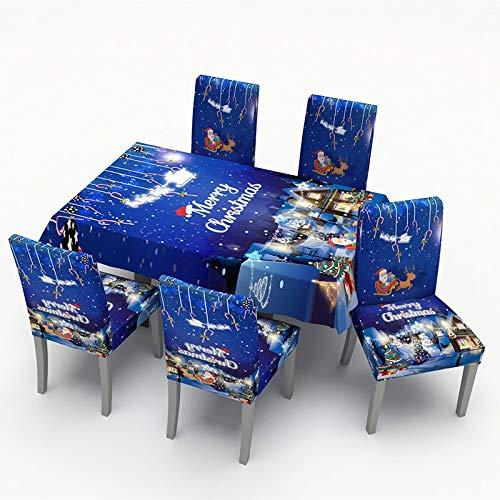 Feliz Navidad 5pcs / set nuevo de Navidad Decoración de la mesa for sillas de cubierta de tela Set Blue Silla de comedor cubierta de la historieta Tabla estampados de tela a prueba de polvo cubre mant