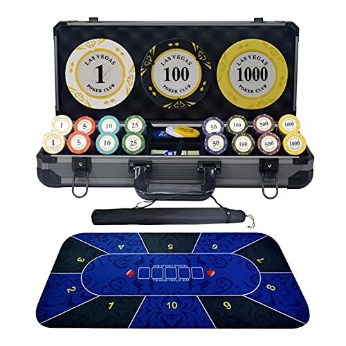 DBGA Pokerset, Pokerkoffer, Pokerset Koffer Profi, Poker Komplett Set mit Chips - Poker Komplett Set - Würfel - Knopf - Tuch