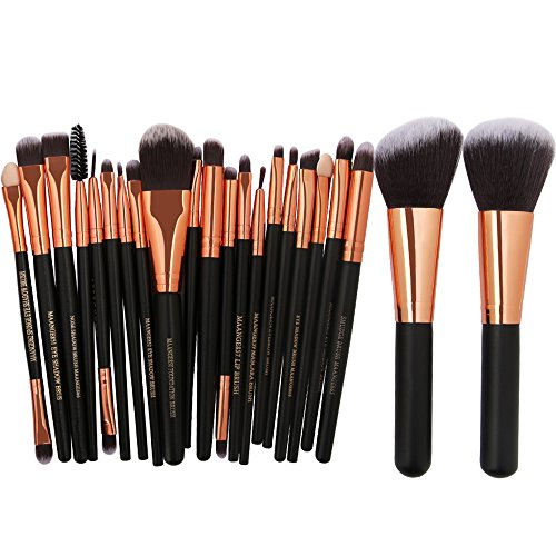 KOLIGHT 22 stks Pro Make-up Set Poeder Gezicht Foundation Oogschaduw Eyeliner Lip Cosmetische Borstels Black+Rose Gold