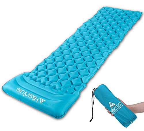 Hikenture Backpack Sleeping Pad | Lightweight Camping Sleeping Bag Pad | Ultralight & Compact & Inflatable Air Mattress Pad-Insulated Air Mat | For Camp,Backpacking,Hiking,Scouts,Travel Blue