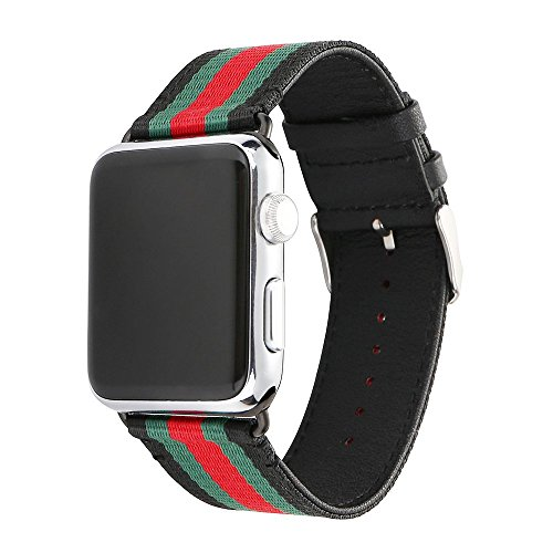 Apple Watch Band, Huanlong Nylon with Genuine Leather Sport Replacement Strap Wrist Band with Metal Adapter Clasp for 38mm Apple Watch/Sport /Edition (38mm-Red/Green/Black)