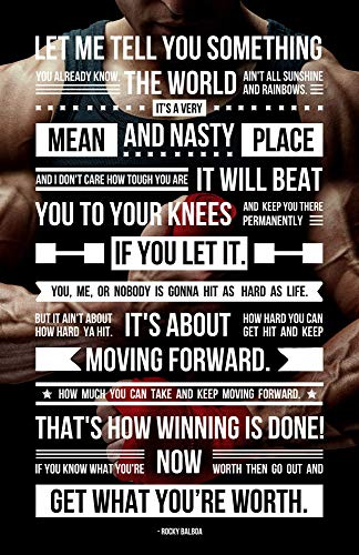 Eco-Friendly 11 x 17 Inches Famous Rocky Balboa Speech Motivational Typography Poster Quote from The Rocky Film Series Print for Gym Sports Boxing Workout Life Motivation 100% Recycled Paper
