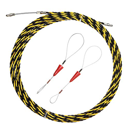 5-20m Guide Device Fiberglass Electric Cable Push Pullers Duct Snake Rodder Fish Tape Wire 2 pcs Cable Tensioner,10m