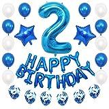 JKJF 2º cumpleaños decoración azul niños cumpleaños Set gigante número 2 globos Happy Birthday Banner Globos confeti globos decoración para niñas niños cumpleaños fiesta