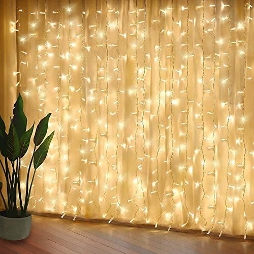 Rideau Guirlandes Lumineuses LED 3m*3m,8 Modes d'Eclairage, Etanche IP44 ,Decoration de Noël,Fenêtre, Mariage, Anniversaire, Maison, Patio
