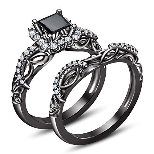 Vorra Fashion Prinzessschliff Krappenfassung Disney Stone Engagement Ring 18 k Gold-Finish, Brautmode, Schwarz
