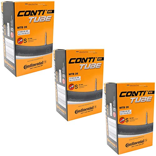 Continental - Camera d'aria per mountain bike, con valvola Presta da 42 mm, confezione da 3