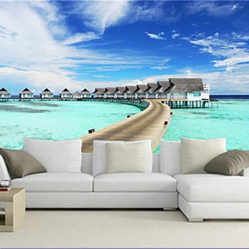 Preisvergleich Produktbild Yirenfeng Benutzerdefinierte 3D große Wandgemälde,  Tropics Sea Houses Bungalow Stelzenhaus Natur Papel de Parede,  Wohnzimmer TV Wand Schlafzimmer Tapete-300X200CM
